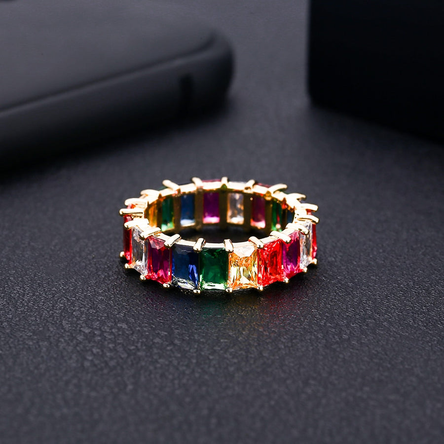 janekelly  baguette cubic zirconia cz Gold filled mix rainbow ring for women thin delicate trendy drop shipping female jewelry