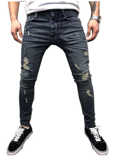 KENNTRICE Men Jeans New Slim Fit Knee Holes Hip Hop Skinny Jeans Distressed Ripped Stretch Streetwear Male Denim Trousers