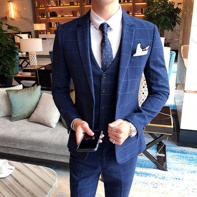 Plyesxale Burgundy Black Blue Plaid Suit Men Slim Fit Groom Wedding Suits For Men 3 Pcs High Quality Dress Business Suits Q278