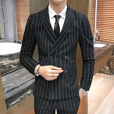 Brand Men Double Breasted Suit 3 Pieces Slim Fit Wedding Suit For Men 2019 High Quality Black Gray Navy Blue Striped Suits Q8