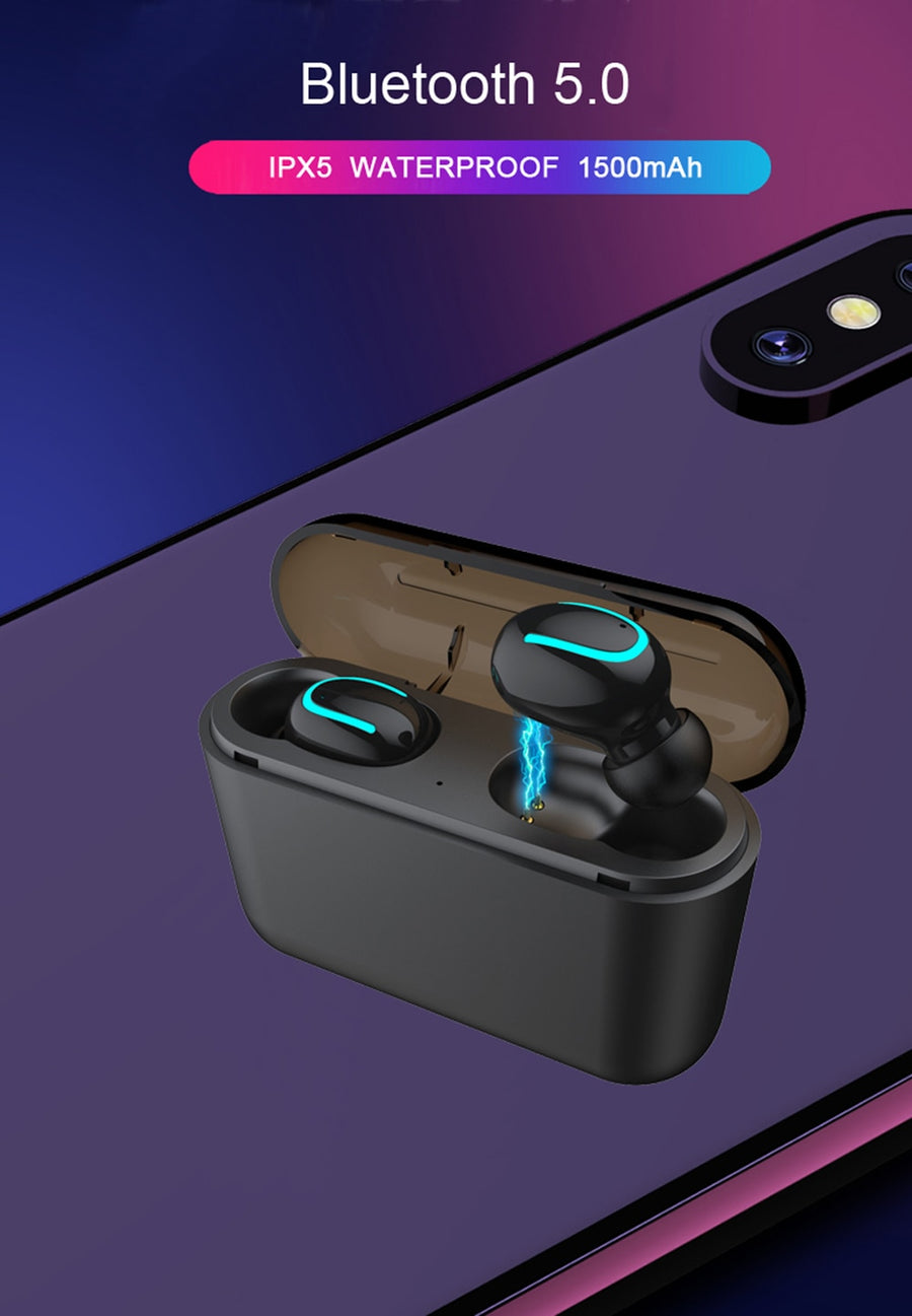 Wireless Earphones TWS Wireless Headphones Bluetooth 5.0 Sports Earphone Stereo Sound Wireless Earbuds With Charging Box Mic