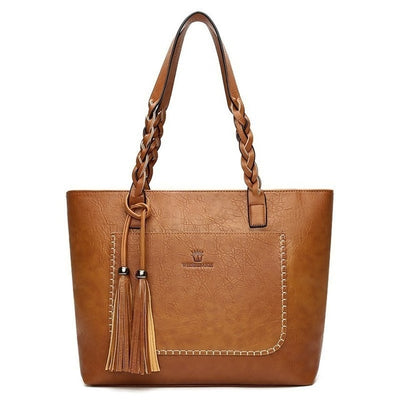 Herald Fashion Large Capacity Causal Shoulder Bags for Women 2018 Fall Leather Fringe Purse Handbags Retro Tassel Shopper Tote