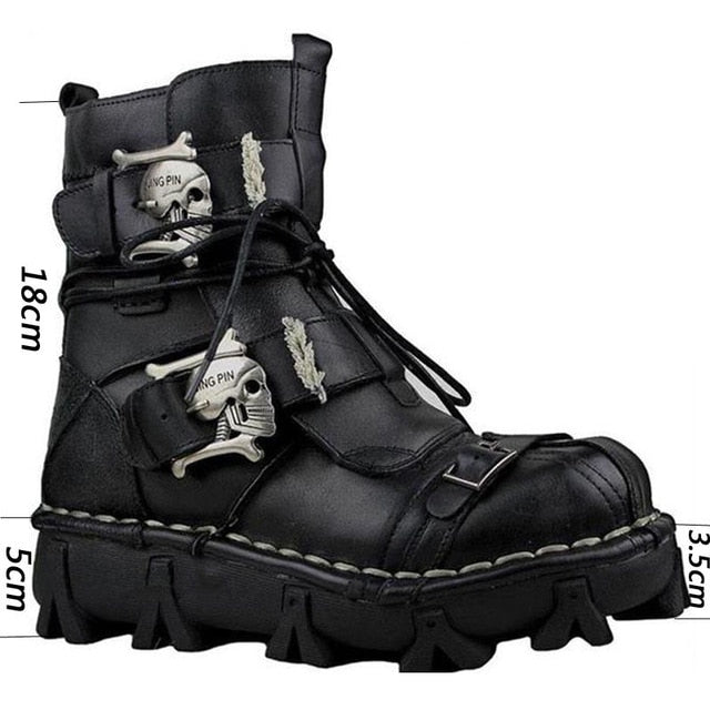 COSIDRAM Men Boots Cow Leather Winter Shoes Male Metal Decoration High Top Men Shoes Plus Size 48 49 50 BRM-030