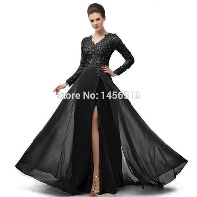 Real Photo Elegant Long Sleeve A Line V Neck Chiffon Lace Beaded Long Evening Dresses 2019 Robe De Soiree Manche Longue 122416W