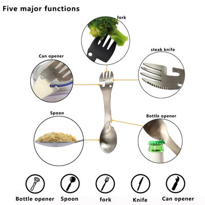 Outdoor Camping Tableware BBQ Hiking Spoon Cookware Multifunctional Fork Bottle Opener Portable Outdoor Survival Tools