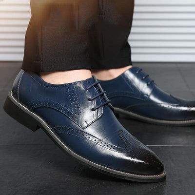 Leather shoes 2018 new comfortable lace up leather business casual shoes men bullock shoes plus size men flat party shoes