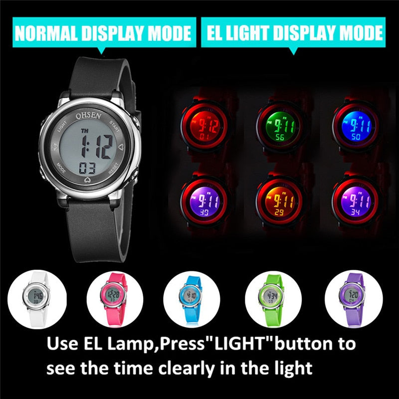 OHSEN Fashion Women's Men's Sports Watches Waterproof LED Digital Watch Men Women Multifunction Girl Boy Wristwatch Montre Femme