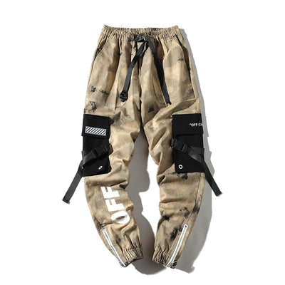 Hip  Men's Camouflage Joggers Pants 2019 Men Ribbons Cotton Cargo Pant Trousers Elastic Waist Harem Pant