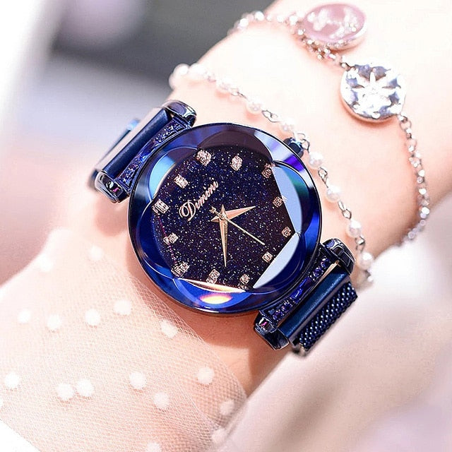 Top Brand Luxury Women's Rhinestone Wrist Watches Rose Gold Starry Sky Quartz Watch Ladies Crystal Clock Magnetic Strap relogio