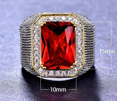 Bamos Retro Male Red Big Stone Ring Gothic Wide Ring For Men Punk Jewelry Accessories Yellow Gold Filled Cool HipHop Men Ring