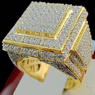Bamos Luxury Male Full Zircon Stone Ring 18KT Yellow Gold Filled Jewelry Vintage Wedding Engagement Rings For Men