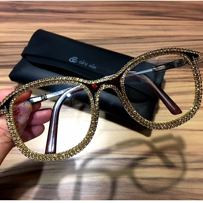 Gold rhinestone cat eye  Sunglasses for Women Brand Designer Shades Sun Glasses Men Vintage Metal Clear Eyewear UV400 Sunglass