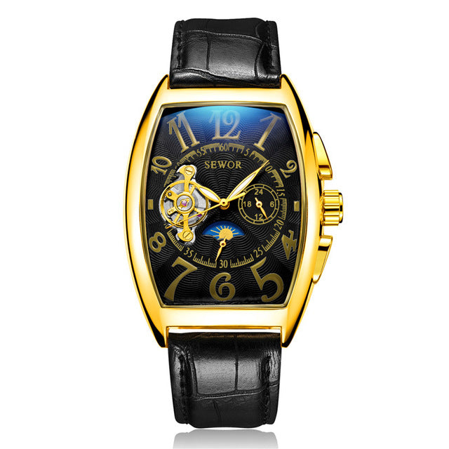 SEWOR Men Watch Automatic Mechanical Tourbillon Sport Male Clock Top Brand Luxury Gold Classic Man Wristwatch