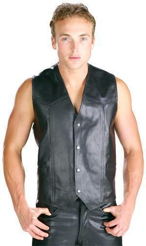 Xelement B210 'Classic' Men's Black High Grade Cowhide Leather Vest Free Shipping 3-7 days in US