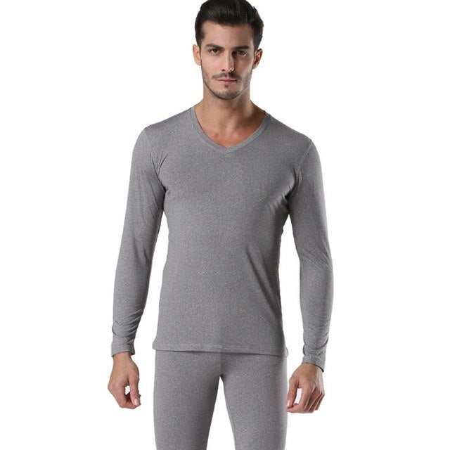 Winter V Neck Warm Long Johns Set For Men Ultra-Soft Solid Color Thin Thermal Underwear Men's Pajamas  Anti-microbial Stretch