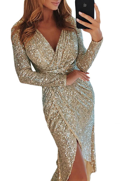 Fashion Sequins Wrapped Ruched Irregular Evening Dresses