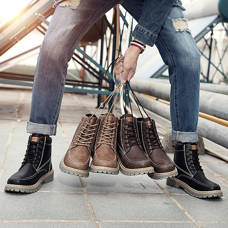 2018 Winter Shoes Fashion Mens Leather Thick Fur Warm Mid Calf Boot For Men Waterproof Vintage British Snow Boots Male