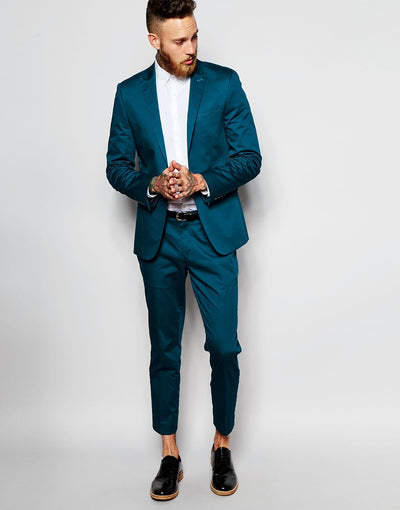 New Style Groomsmen Peak Lapel Groom Tuxedos Green/Teal/Yellow/Purple Men Suits Wedding Best Man (Jacket+Pants+Hanky) B889