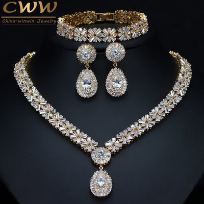 CWWZircons Exclusive Dubai Gold Plate Jewellery Luxury Cubic Zirconia Necklace Earring Bracelet Party Jewelry Set for Women T053
