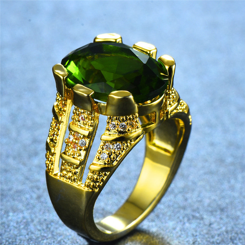 Gorgeous Male Gold Peridot Oval Finger Ring Luxury Big Crystal Zircon Stone Ring Promise Engagement Rings For Men