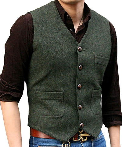New Men's Suit Vest V Neck Wool Herringbone Tweed Casual Waistcoat Formal Business Vest Groomman For Green/Black/Brown/Coffee+++