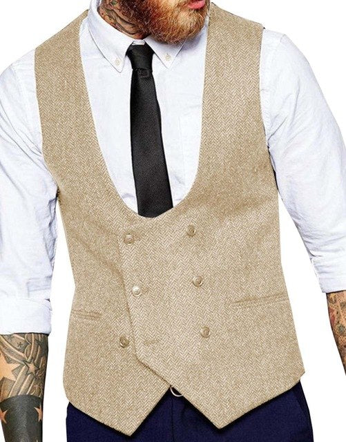 2019 new Men's Double-breasted Vest slim fit woolen/Tweed suit vest casual top quality Herringbone pattern Waistcoat Groomsmen