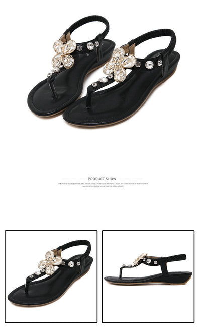 UMMEWALO Sandals Women Summer Rhinestone Heel T-strap Flip Flops Beach Thong Wedge's Shoes