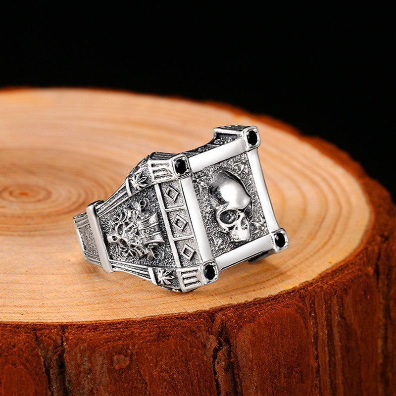 ZABRA Adjustable Size 925 Sterling Silver Skull Rings For Men Zircon Ring Vintage Puck Rock Biker Jewelry