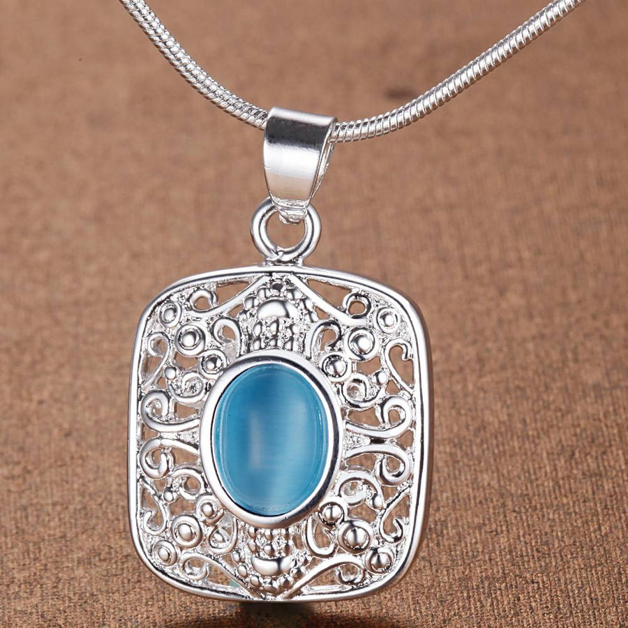 blue zircon bling silver plated Necklace New Sale silver necklaces & pendants /FXRLMMMH YYBRWAGB