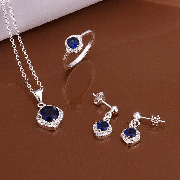 S548 925 sterling silver jewelry set, fashion jewelry set necklace ring earring /avtajnaa glxapdea