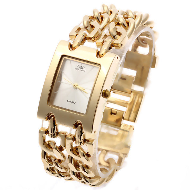 G&D Luxury Brand Women's Watches Gold Quartz Wristwatch Fashion Ladies Bracelet Watch Relogio Feminino Clock Reloj Mujer Gifts