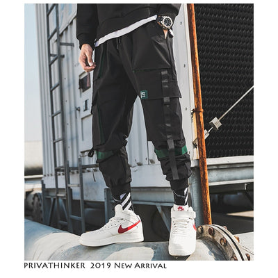 Men Hip Hop Belt Cargo Pants 2019 Man Patchwork Overalls Japanese Streetwear Joggers Pants Men Designer Harem Pants