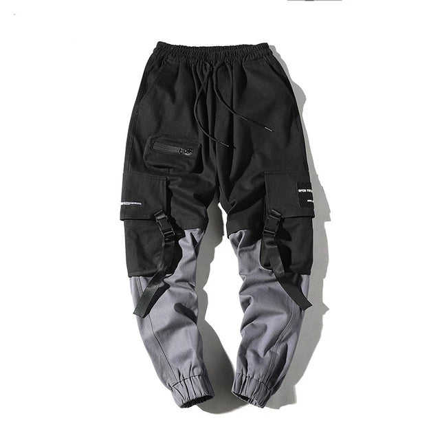 Man Pants New Fashion Streetwear Stitching Color Joggers Hip Hop Long Pants Men Elastic Waist Cargo Pants Men