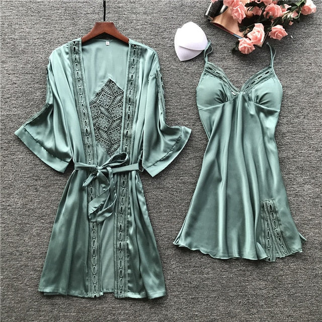 2019 Women Robe & Gown Sets  Lace Sleep Lounge Pijama Long Sleeve Ladies Nightwear Bathrobe Night Dress