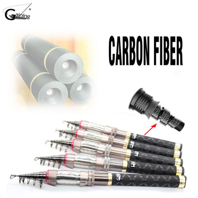 High Carbon Saltwater Telescopic Fishing Rod Superhard  Ultra Light Rod Carbon 1.3-2.4M  Fishing Rod Spinning Fishing Pole
