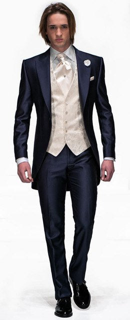 Purple Groomsmen Custom Made Groom Tuxedos Peak Lapel Men Suits Wedding Best Man Blazer ( Jacket+Pants+Tie+Vest ) C162