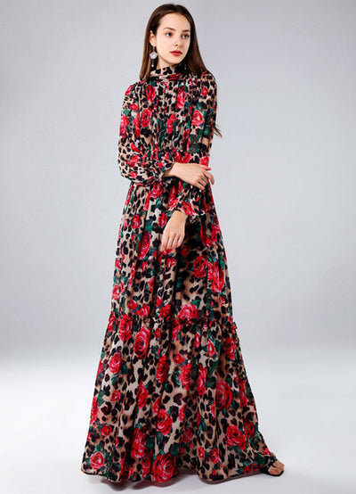 High quality 2019 designer Runway Maxi dress Women's Long Sleeve Vintage Flowers Leopard Print Slim Beach long Dress plus size