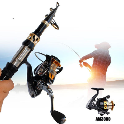 1.8M-3.3M Portable Spinning Fishing Rod Pole Travel Sea Boat Fishing Rod Carbon Fiber Telescopic Fishing Rod with Fishing Reel