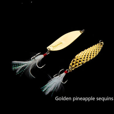 5pcs/lot Boxed Metal Spoon Fishing Lure Hard Baits Spinner Sequins Noise Paillette with Feather Treble Hook Fishing Tackle