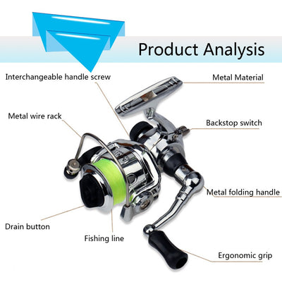 Stainless Steel Bait Casting Fishing Reels Mini XM100 Fishing Reel 2+1 Ball Bearings Fishing Tackle Accessories