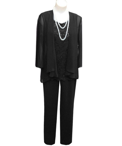 Formal Evening Dress 3 Three Pieces Mother Of the Bride Dress Pants Suit With Jacket Outfit Lace For Wedding Party Groom