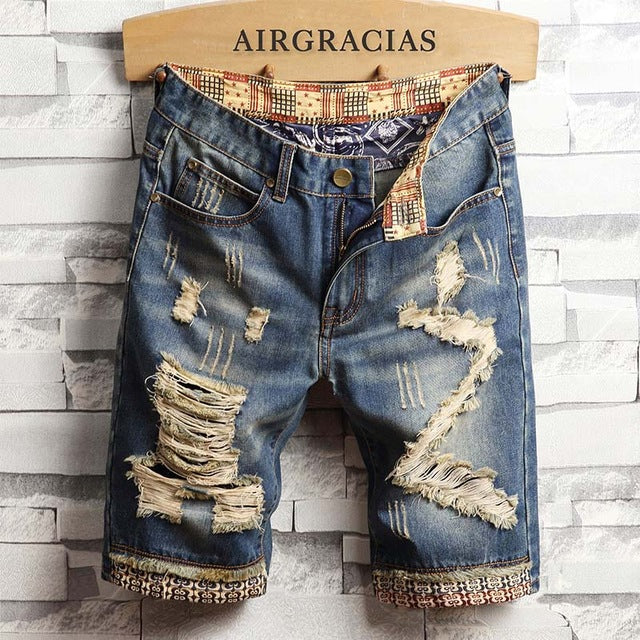 Mens Ripped Short Jeans Brand Clothing Bermuda Cotton Shorts Breathable Denim Shorts Male New Fashion Size 28-40