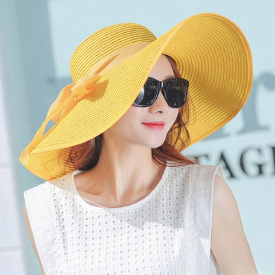 Simple Summer Straw Hat Women Big Wide Brim Beach Hat Sun Hat Foldable Sun Block Uv Protection Panama Hat Bone Chapeu Feminino