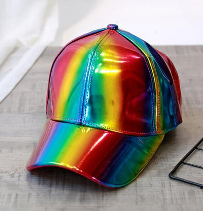 luxury Fashion PU hip-hop hat for Rainbow Color Changing  Baseball cap Back to the Future Prop Bigbang G-Dragon Baseball Cap