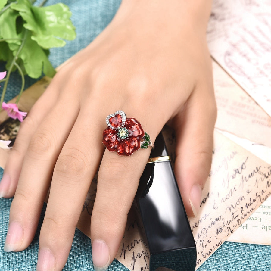 Red Flower Heart Zircon Stone Wedding Engagement Rings for Women Fashion Jewelry 2018 New