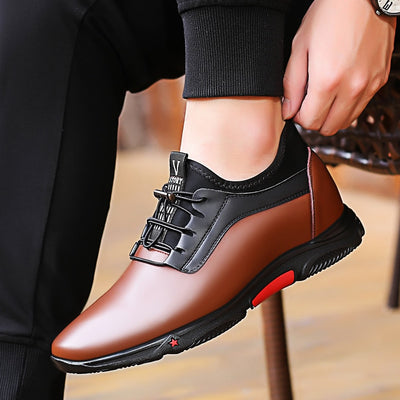 Misalwa 2019 Fashion Sneakers Men Luxury Platform Elevator Shoes Brown Leather Elastic Band Casual Height Increasing 5-7 CM Shoe