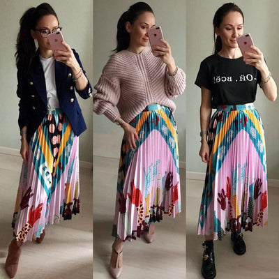 2019 Summer Fashion Runway Designer High Quality Women's Elegant Stunning Pattern Printing Pleated Slim Skirt All-matched Saia