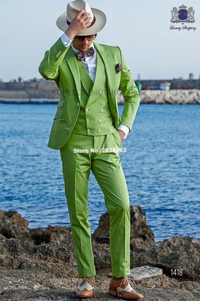 New Arrival Groomsmen Peak Lapel Groom Tuxedos Light Green Men Suits Wedding Best Man Blazer ( Jacket+Pants+Tie+Vest ) C97