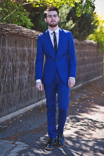 New Style Groomsmen Royal Blue Groom Tuxedos Notch Lapel Men Suits Wedding Best Man 2 pieces ( Jacket+Pants+Tie ) C543