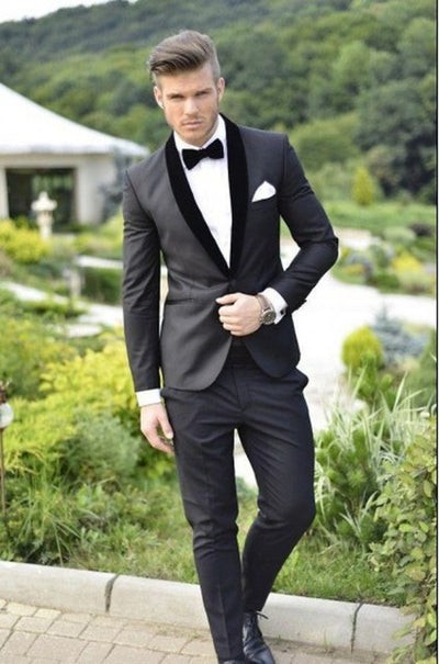 New Style Groomsmen Navy Blue Groom Tuxedos Shawl Satin Lapel Men Suits Wedding Best Man 2 pieces ( Jacket+Pants+Tie ) C542